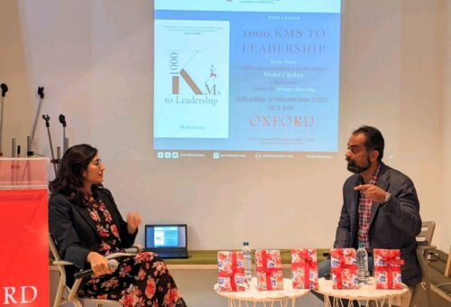 The launch of Mr. Mohit Chobey's book, '1000 KMS to leadership' organized by Invincible Publishers at Oxford bookstore, Delhi